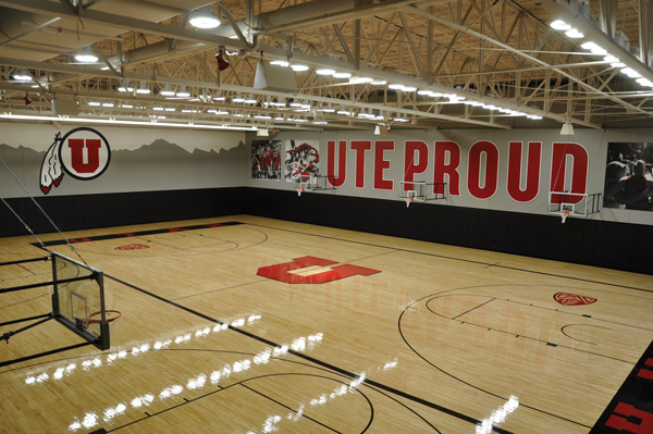 Women's basketball practice gymnasium at the new Huntsman facility.  Photos courtesy of Utah Athletics