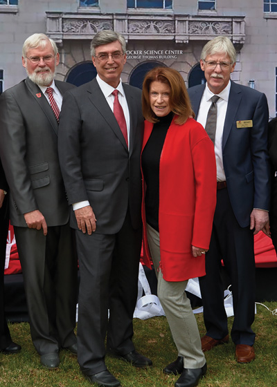 U President David W. Pershing joins Gary and Ann Crocker, and Henry S. White, dean of the College of Science, to celebrate the long-awaited start of construction on the Crocker Science Center.
